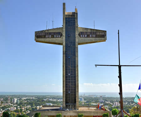 watchman: Watchman Cross in Ponce, Puerto Rico. It is a 100-foot-tall cross located atop Vigia Hill in Ponce, Puerto Rico Stock Photo