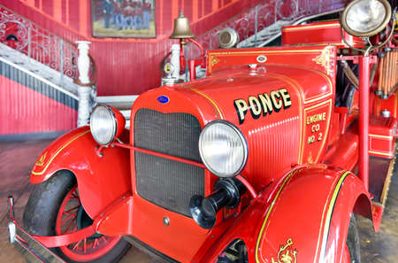 Ponce, Puerto Rico - December 27, 2015: Ford firetruck in the Parque de Bombas (Park of Pumps) firehouse museum in Ponce, Puerto Rico.