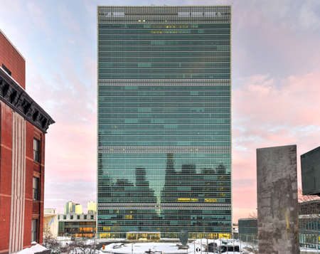 nations: United Nations headquarters in New York City, USA in the winter at sunset. Editorial