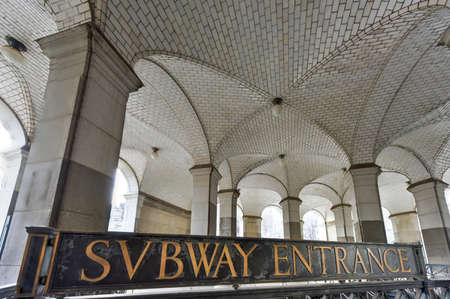 subway entrance: Subway entrance and Guastavino tile ceiling by the City Hall entrance to the subway, under the Municipal Building, New York City.