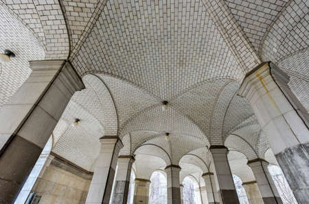 Guastavino tile ceiling by the City Hall entrance to the subway, under the Municipal Building, New York City.