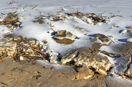 coney: Coney Island Beach in Brooklyn, New York after a major snowstorm.