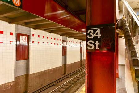 herald: New York City - February 16, 2016: MTA 34th Street Subway Station, Herald Square in New York City. Editorial