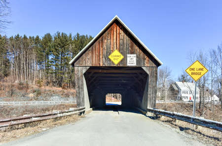 covered bridge: Lincoln Covered Bridge in West Woodstock, Vermont