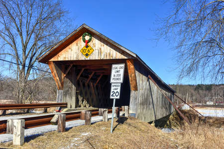 depot: Depot Covered Bridge in Pittsford, Vermont Stock Photo