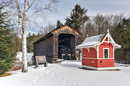 lincoln: Clarks Trading Post Covered Bridge in Lincoln, New Hampshire.