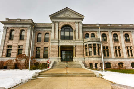 downtown capitol: New Hampshire State Library Building was built in 1895 with native granite, in downtown Concord next to the State Capitol, State of New Hampshire, USA. Stock Photo