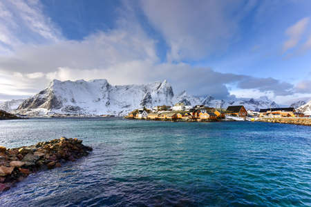rorbuer: Winter time in Reine, Lofoten Islands, Norway. Stock Photo