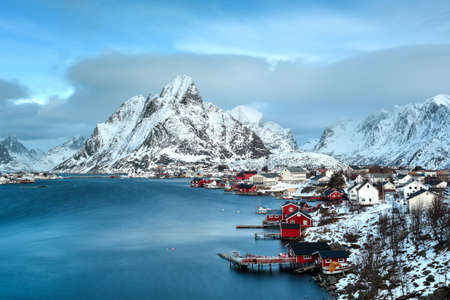 Mountain winter background in Reine, Lofoten Islands, Norway