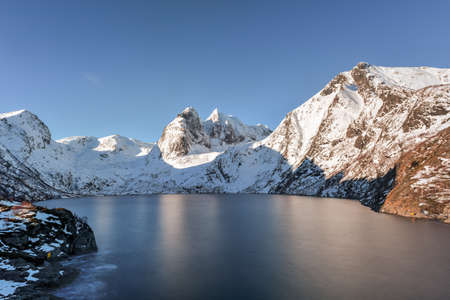 snowscape: Winter time in Djupfjorden in Reine, Lofoten Islands, Norway.