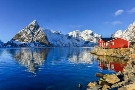 alpine hut: Winter in Olenilsoya in Reine, Lofoten Islands, Norway.