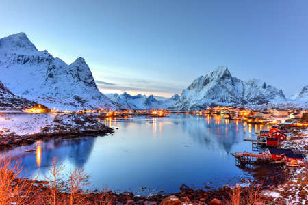 rorbuer: Winter in Reine, Lofoten Islands, Norway. Stock Photo