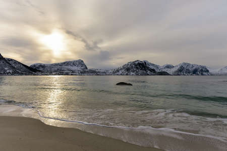 snowscape: Haukland Beach in the Lofoten Islands, Norway in the winter.