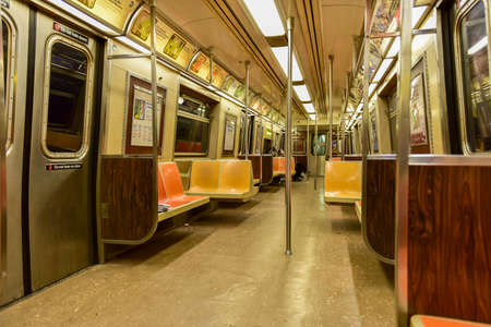florescent light: New York City Subway Car interior when empty.