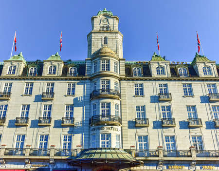 Oslo, Norway - February 27, 2016: : The Grand Hotel in Oslo, Norway. The hotel is best known as is the annual venue of the winner of the Nobel Peace Prize.