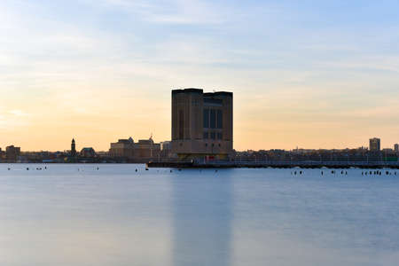hudson: Holland Tunnel Air Shaft at sunset from Manhattan, New York City over the Hudson River. Stock Photo