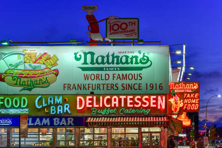 famous industries: Brooklyn, New York - March 26, 2016: Nathans Famous Hotdogs is a historic landmark and tradition at Coney Island in Brooklyn, New York. Editorial