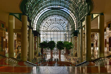winter garden: New York City - April 16, 2016: The Winter Garden, a part of the World Financial Center from Battery Park in Manhattan, New York. Editorial