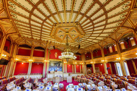 central government: Oslo, Norway - February 27 2016: Interior of the Storting building (Norwegian: Stortingsbygningen) is the seat of the Storting, the parliament of Norway, located in central Oslo. Editorial