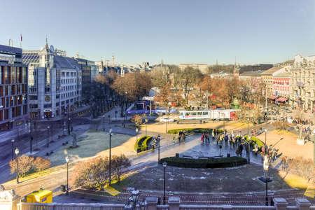 thoroughfare: Oslo, Norway - February 27 2016: Karl Johans Gate, the main thoroughfare in central Oslo. Stock Photo