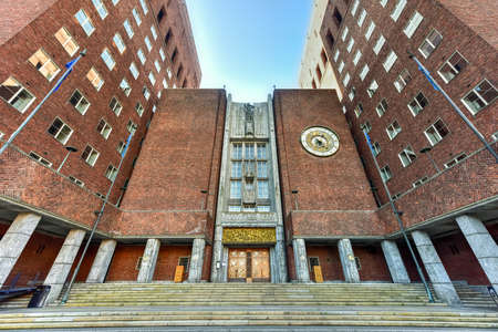 functionalism: Oslo City Hall (Norwegian: Oslo radhus) houses the city council, city administration, and art studios and galleries. Stock Photo