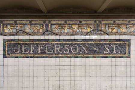 jefferson: Brooklyn, New York - June 5, 2016: Jefferson Street subway station along the L train in the Bushwick area of Brooklyn, New York. Editorial