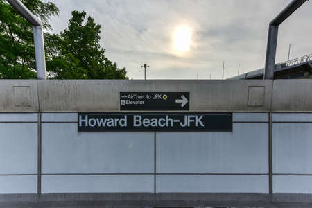 Queens, New York - May 31, 2016: Howard Beach-JFK Subway station in Queens, New York.