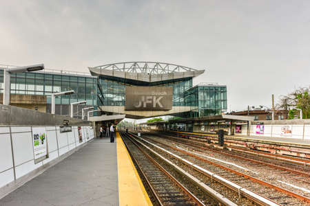 jfk: Queens, New York - May 31, 2016: Howard Beach-JFK Subway station in Queens, New York.