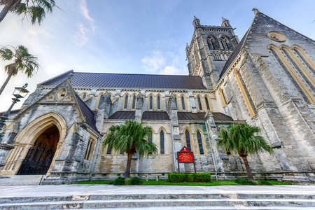 tree service: The Cathedral of the Most Holy Trinity (often referred to as the Bermuda Cathedral) is an Anglican cathedral located on Church Street in Hamilton, Bermuda. Stock Photo
