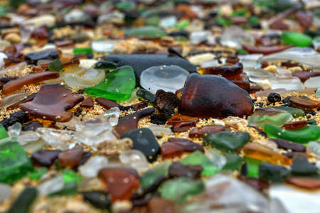 bermuda: Seaglass Beach in Bermuda consisting of worn recycled glass bottles. Stock Photo