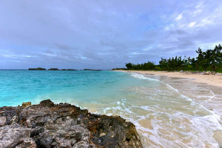 bermuda: Beautiful pristine Clearwater Beach on south-eastern end of Bermuda. Stock Photo