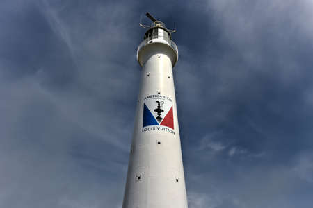 taller: Bermuda - May 22, 2016: Gibbs Hill Lighthouse, built in 1844 by the Royal Engineers, is the taller of two lighthouses on Bermuda, and one of the first lighthouses in the world to be made of cast-iron. Editorial