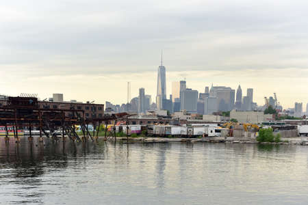 downtown manhattan: View of Downtown Manhattan from Red Hook, Brooklyn, New York.