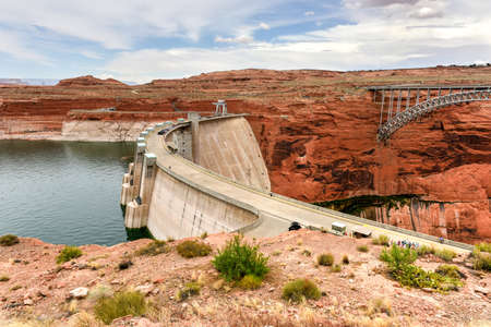 Lake Powell and Glen Canyon Dam in the Desert of Arizona, United States