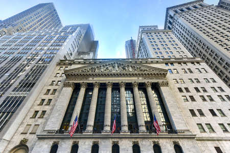 economic revival: New York City - June 29, 2016: The historic New York Stock Exchange on Wall Street, one of the largest stock exchanges in the world. Editorial