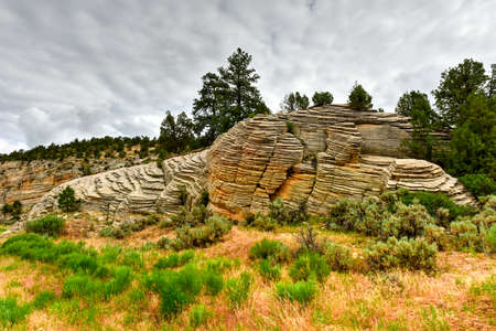 Rock formations along the Johnson Canyon Road in Utah, USA. Stock Photo
