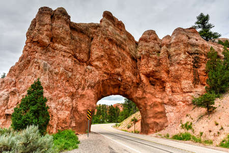 drive through: Drive Through Arch along the highway in Utah outside Red Canyon.