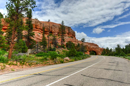 Drive Through Arch along the highway in Utah outside Red Canyon.