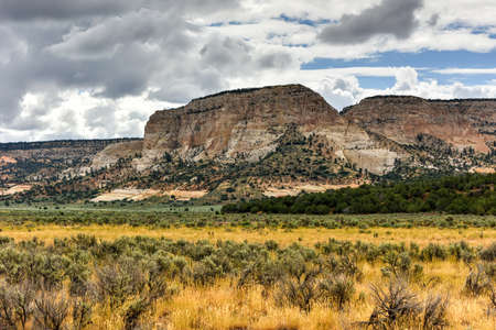plateau point: Rock formations along the Johnson Canyon Road in Utah, USA. Stock Photo