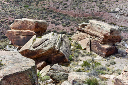 lacey: Newspaper Rock with old hieroglyphics in the Petrified Forest National Park in Arizona. Stock Photo