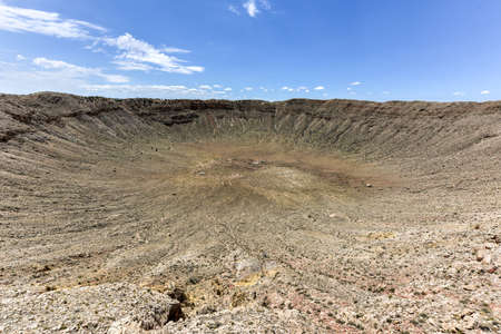 Meteor Crater, the result of a nickel-iron meteorite about 50 meters (160 feet) across crashing in Arizona 50,000 years ago. Stock Photo