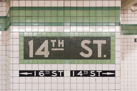 14th: New York City - July 30, 2016: 14th Street subway station in NYC. The underground station opened on December 15, 1940.