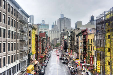 New York City - July 30, 2016: Urban landscape of Chinatown in New York City.