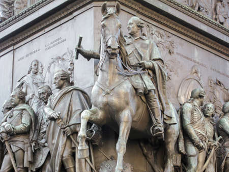 Base of the equestrian statue of Frederick the Great is an outdoor sculpture in cast bronze at the east end of Unter den Linden in Berlin, honouring King Frederick II of Prussia.