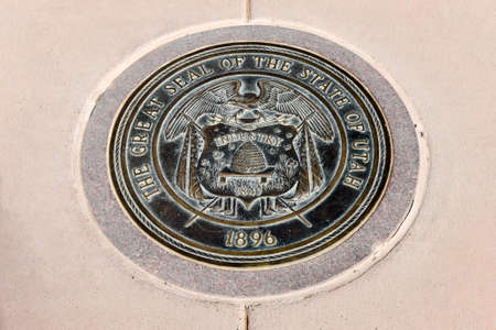 four corners: Utah state seal at the Four Corners Monument. Editorial