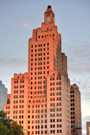 artdeco: 111 Westminster Street (formerly Bank of America Building) in Providence, Rhode Island at sunset. At 428 ft (130 m) it is the tallest building in Providence.