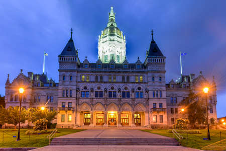 representatives: Connecticut State Capitol in Hartford on a summer evening. The building houses the State Senate, the House of Representatives and the office of the Governor.