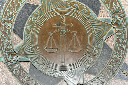 superiors: Scales of justice by the Superior Court building in Providence, Rhode Island.