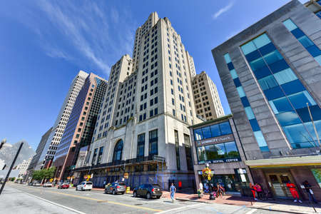 artdeco: Providence, Rhode Island - August 21, 2016: 111 Westminster Street (formerly Bank of America Building) in Providence, Rhode Island. At 428 ft (130 m) it is the tallest building in Providence.