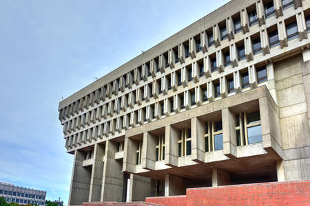 Boston City Hall in Government Center. The current hall was built in 1968 and is a controversial and prominent example of the brutalist architectural style.